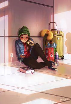Illustrator Yaoyao Ma Van As. Yaoyao Ma Van As, or shortly YaoYao art director, painter, illustrator, and occasional animator. For more view website Girly Drawings, Art Drawings Sketches, Cartoon Drawings, Alone Art, Digital Art Girl, Cartoon Art Styles, Girl Cartoon, Anime Art Girl, Cute Art