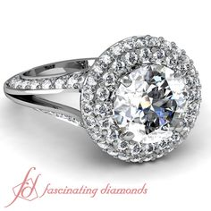 Round Cut Diamonds 14K White Gold Halo Engagement Ring in Pave Setting    Split Halo Ring