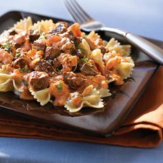 Steak & Farfalle Pasta with Creamy Tomato Sauce. While most creamy sauces are so laden with butter and oil that you can actually see the fat glistening off the pasta, we've chosen to keep it light for this steak and pasta recipe with a tomato-based sauce smoothed with low-fat sour cream. Top that off with lean steak and lesser-known whole-wheat farfalle pasta and you've got yourself a deliciously clean dinner sure to please any pasta lover in your family.