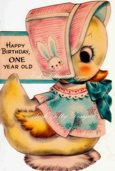 Bunny One Year Old Vintage Digital Download by poshtottydesignz, $2.75