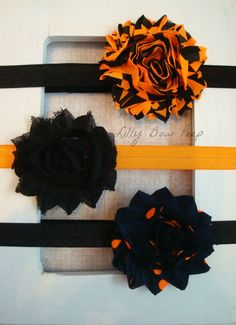 SET OF 3-Halloween Headbands-Baby Girl Unique-Preemie-Infant-Newborn-Child-Toddler-Shabby Flowers-Costume-Black Orange Navy Blue-Fall-Pretty