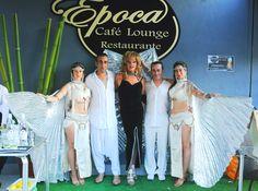 Katia Setien. Divarts danza y fuego, Thais Trasformista y los dueños del local,en Epoca Cafe Lounge, Limpias
