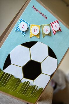 Julie's Japes - A Top Independent Stampin' Up! Demonstrator in the UK: Birthday Boy football using hexagon punch
