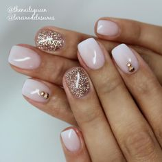 soft french ombre w/ rhinestone placement & glitter accent nail @thenailsqueen | #glam #nails #nailart #polish #naildesign #gradient : pink / white