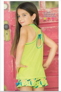 Pijama sisa short Ref: 1645 Tallas: 2, 4, 6, 8, 12, 14, 16 Colores: limón brillante, coral neón, confite
