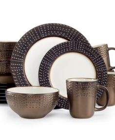 Gourmet Basics by Mikasa Metropolitan 16-Pc. Set, Service for 4 $69.99 Dine on the dot. Versatile, contemporary and so stylish, the Metropolitan 16-Piece Set from Gourmet Basics by Mikasa exudes a city-chic look with a metallic luster and raised dot embellishments.