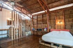 This is a sustainable bedroom bamboo interior design.