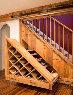 Custom under-stairs wine storage Under Stairs Wine Cellar, Wine Cellar Basement, Stair Storage, Wine Storage, Firewood Storage, Home Wine Cellars, Under Stairs Cupboard, Home Stairs Design, Home Bar Designs