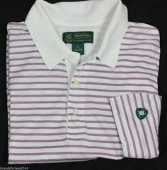 BROOKS BROTHERS ST ANDREWS LINKS WHITE PURPLE STRIPES 100% COTTON SMOOTH KNIT XL #BrooksBrothers #PoloRugby
