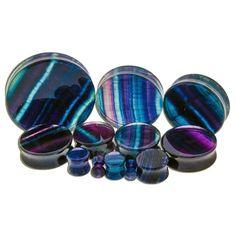 Rainbow Flourite Stone Plugs (6 gauge - 2 inch) 4 gauge # 14.99