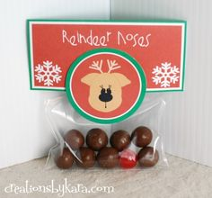 Christmas Gift Idea-- Reindeer Noses  #free-printable soooo cute put 8 reindeer brown (malted milk balls) and 1 red (red hot balls) for Rudolph.
