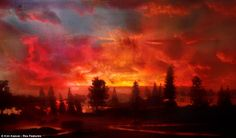 Sunset: This dramatic picture looks lie a Hellish scene of perhaps a raging distant fire in prehistoric times