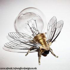 Steampunk brooch - Large Fly Lightbulb Brooch - OOAK Unique Steampunk Steam Punk Clockwork Jewelry