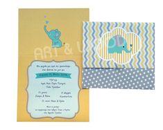"""Προσκλητήριο βάπτισης για αγόρι με θέμα """"ελεφαντάκι"""". Τρίπτυχο προσκλητήριο σε ματ ανάγλυφο χαρτί σε γκρι και κίτρινες αποχρώσεις Cover, Books, Libros, Book, Book Illustrations, Libri"""