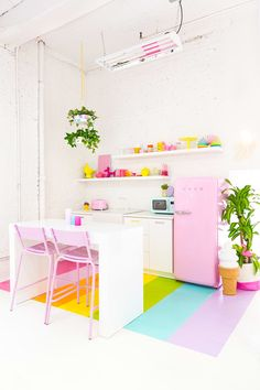 Verlaine Counter Stools by Eunbi featured in Aww Sam Studio: Rainbow Kitchen Reveal! Pastel Kitchen, Kitchen Colors, Kitchen Decor, Interior Pastel, Pastel Home Decor, Rainbow Kitchen, Home Interior, Interior Design, Rainbow House