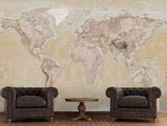2015 Neutral Map Wallpaper Mural Tapettijuliste