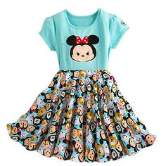 The ''Tsum Tsum'' cuteness level is at a 10 on this dress. The embroidered Minnie appliqué on the front is fringed by shiny jewels while the back features the back of Minnie's head. The airy dress features Minnie and friends. Disney Dresses, Disney Outfits, Girl Outfits, Girls Dresses, Tsum Tsum Party, Disney Tsum Tsum, Estilo Disney, Tsumtsum, Disney Girls