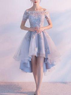 Short Sleeve Off Shoulder High How Dusty Blue Cheap Homecoming Dresses – SposaDresses Short Sleeve Prom Dresses, Backless Prom Dresses, Tulle Prom Dress, Prom Dresses Blue, Sexy Dresses, Dresses With Sleeves, Formal Dresses, High Low Prom Dresses, Dress Wedding
