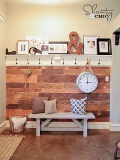 Cool $60 shelf and hooks to match with church pew and board and baton wall treatment