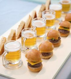 Mini food ideas ~ bite size burgers and mini beer mugs.