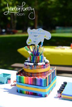 "An artist's ""cake"" - Art themed birthday party."