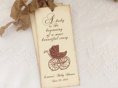 Storybook Favors Bookmarks Baby Shower Carriage Pram Set of 10