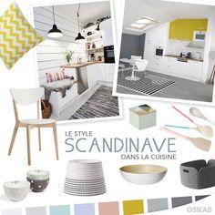 Découvrez notre planche de tendance sur le style scandinave pour recréer dans votre cuisine une atmosphère douce et cosy. #cuisine #scandinave www.oskab.com