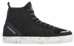 Hogan Men's Black Leather Hi Top Sneakers.