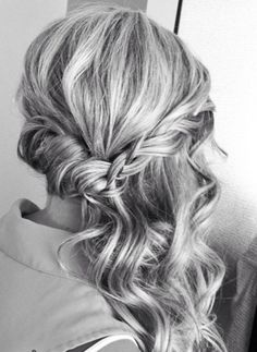 Gorgeous prom side half updo with twisted hair and a braid with soft curls - prom hairstyle half updo 2015