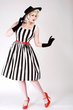 50's dress. #dress #BettiePage #stripes