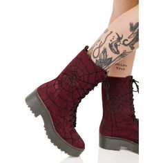 Iron Fist Walking In My Web Heavy Sole Boots ($82) ❤ liked on Polyvore featuring shoes, boots, laced boots, lace front boots, platform shoes, heavy boots and burgundy boots