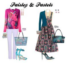 """Paisley and pastels"" by momma2theking ❤ liked on Polyvore featuring Sandro, Lowie, Carven, Etro, Fenn Wright Manson, Gianvito Rossi, Anuschka, NAKAMOL, Oscar de la Renta and ALDO"