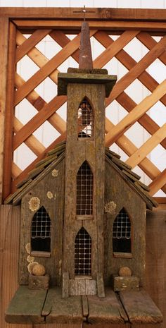 """Birdhouse Cathedral with Chickenwire-Paned Windows is a replica from Alfred Hitchcock's movie """"The Birds"""".  In Bodega, CA St. Teresa."""