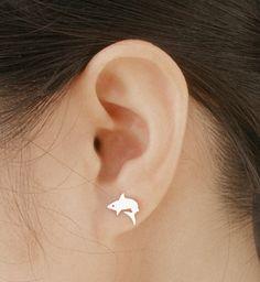 Shark Earring Studs In Sterling Silver Animal Earring by huiyitan
