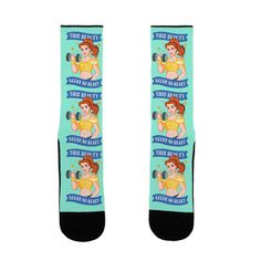 This Beauty Needs No Beast Parody - These funny fitness socks are perfect for all princess loving feminists who love movies but could use some more feminist icons...like this beauty needs no beast. These belle socks are great for fans of fitness memes, gym memes, womens workout socks and feminist socks.