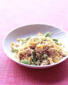 Orzo with Chicken, Corn, and Green Beans - Martha Stewart Recipes #chicken #orzo