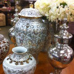 White + silver ceramics - Pottery Barn
