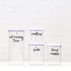 Using clear containers helps you see exactly what you need and helps keep everything fresh and organised. Our push tops are a huge favourite with you all. Our next shipment arrives to the warehouse Thursday. So stay tuned for shipping confirmations, but please bare with us. There is literally 1000's of these pre orders to get out to you all. We have all hands on deck to get these out as quickly as possible. We have already placed another order, double this size as these have been such a big sell Kitchen Jar Labels, Kitchen Containers, Pantry Labels, Kitchen Canisters, Vinyl Labels, Custom Labels, White Pantry, Custom Pantry, Kitchen Organisation