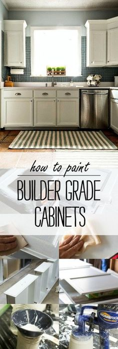How To Paint Builder Grade Cabinets - A complete tutorial with pictures on how to prep, prime and paint builder grade kitchen cabinets and boxes