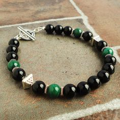 Green Malachite and Black Onyx Bracelet for Men by mamisgemstudio, $62.95