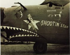 "B-24 Liberator - ""Shootin' Star'. Nose Art, Ww2 Aircraft, Military Aircraft, Nose Jobs, Pin Up, Old Planes, Aircraft Painting, Airplane Art, Paint Schemes"