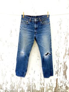 LEVIS 505 Jeans 33 Waist Distressed Faded 80s by HuntedFinds