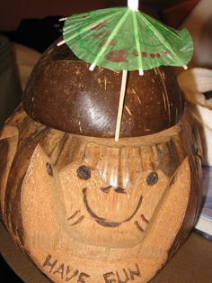 Nothing says cruise like drinking out of a coconut monkey head.