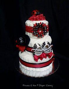 Deluxe Lil Lovebug Ladybug Diaper Cake  by PrincessAndThePbaby, $65.00
