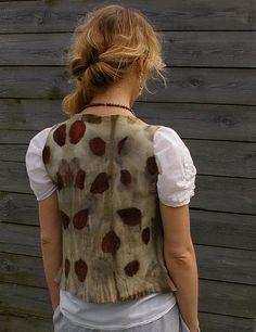 Women wool felted vest drape front waistcoat Plant dyed