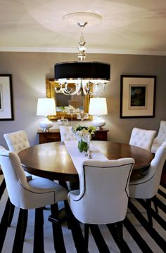 Black and White, stripes, black trim, wood table