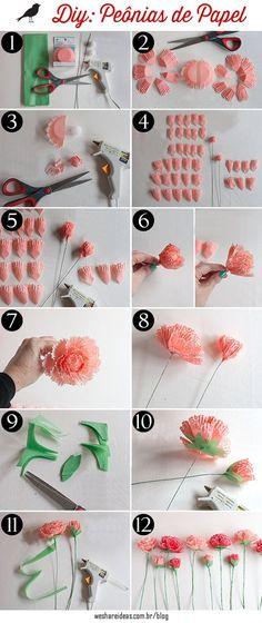 Veja como usar forminhas de cupcake para fazer peônias de papel.
