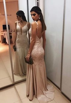 Straps Backless Prom Gowns,Prom Dresses,A-line peon dress CR 5868 Lace Evening Dresses, Prom Dresses, Formal Dresses, Wedding Dresses, Open Back Dresses, Mode Hijab, Dress Backs, Dress For You, Ideias Fashion