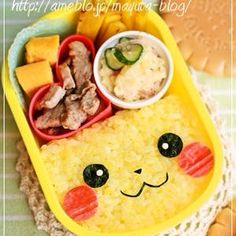 Cute little Pikachu bento box Bento Kawaii, Cute Bento Boxes, Bento Box Lunch, Bento Food, Japanese Bento Box, Japanese Meals, Japanese Rice, Japanese Food Art, Japanese Recipes