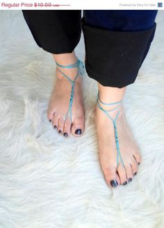 Barefoot Sandals Foot jewelry  Yoga Anklet  by NMNHANDMADE on Etsy, $8.00